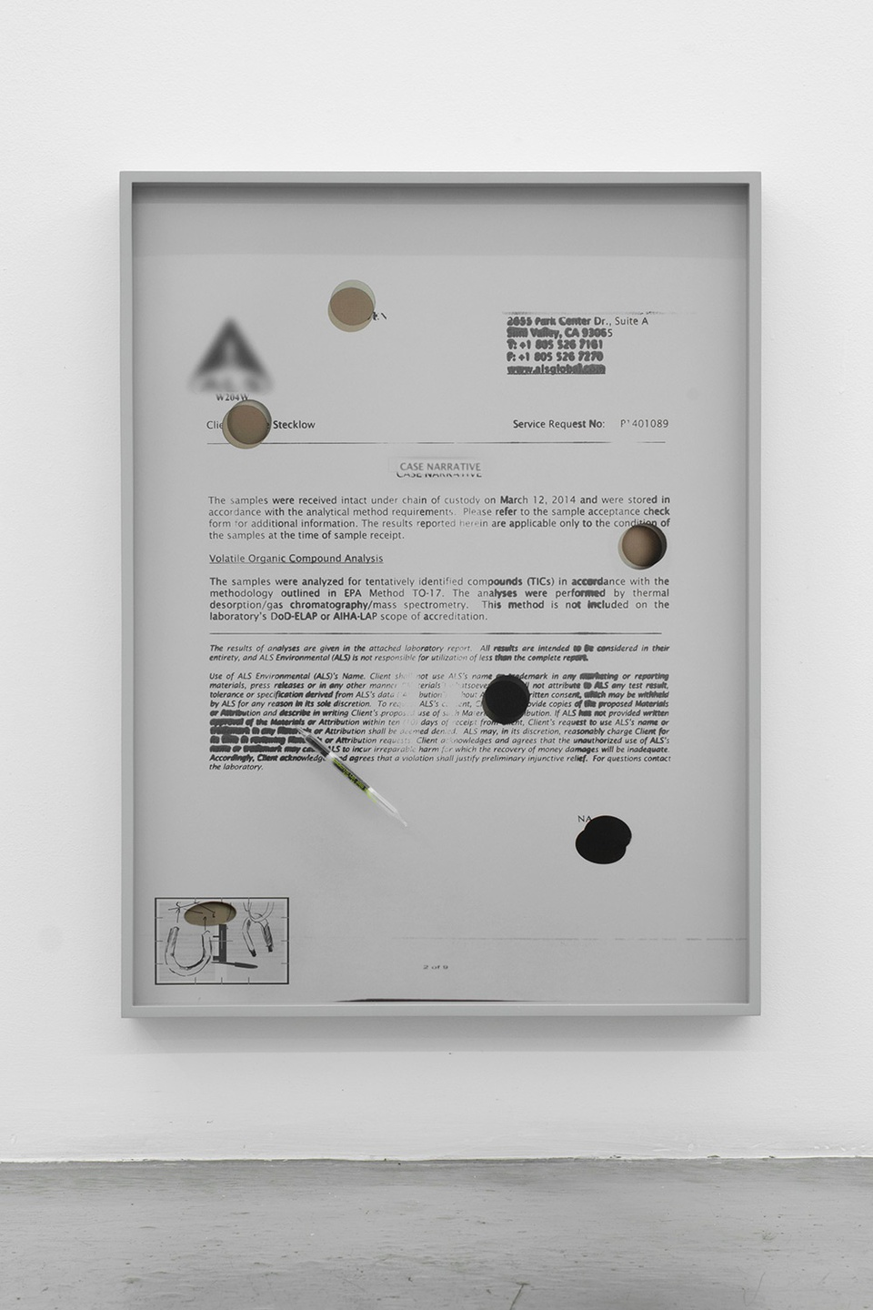 Image: Jesse Stecklow  Untitled (Variant, Case Narrative), 2014  framed archival pigment print, Munsell neutral gray paint, sorbent tube  24 x 18 x 2-1/2 inches  unique