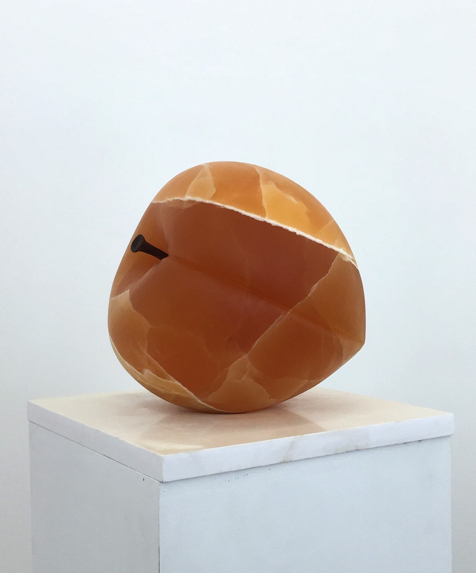 Image: Nevine Mahmoud  Peach Object, 2016  carved calcite, carved steel  sculpture: 11 x 11 x 11 inches base: 15 x 15 x 3/4 inches  unique