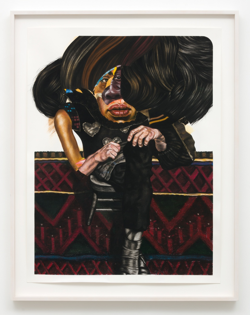 Image: Nathaniel Mary Quinn  Someday, 2018  signed, titled and dated verso  black charcoal, gouache, soft pastel, oil pastel, acrylic gold leaf on Coventry Vellum paper  paper size: 50 x 38 inches (127 x 96.5 cm) framed size: 44 1/2 x 56 1/2 x 2 3/4 inches (113.03 x 143.51 x 6.985 cm)